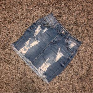 Light Wash Distressed Mini Skirt